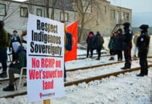 A protest in Canada supporting the efforts of Wet'suwet'en leaders to fight a gas pipeline.