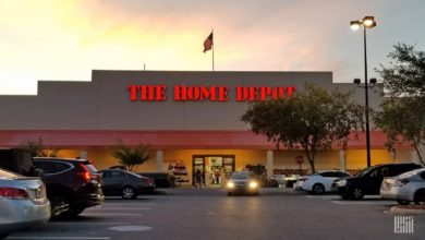 picture of Home Depot store at dusk