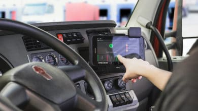 driver using in-cab monitor