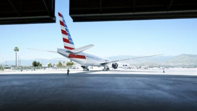 American Airlines jet at hanger