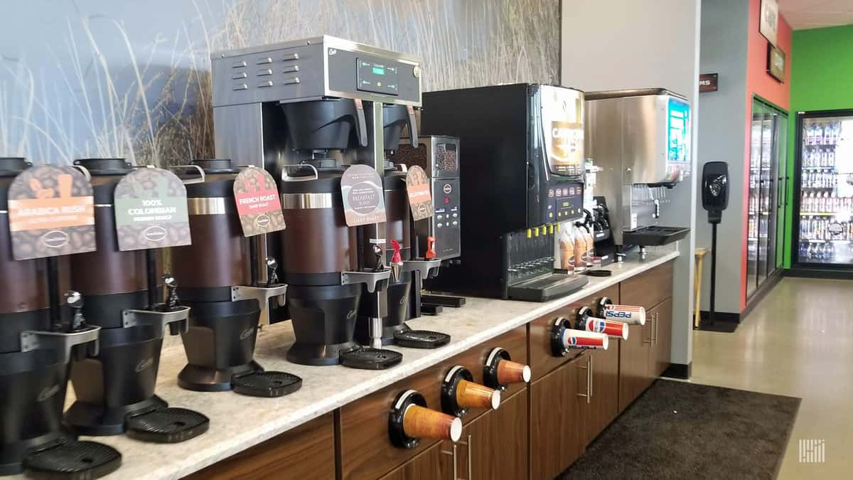 Drink station in truck stop