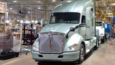 Kenworth truck on production line