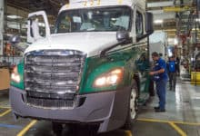 Freightliner truck on production line