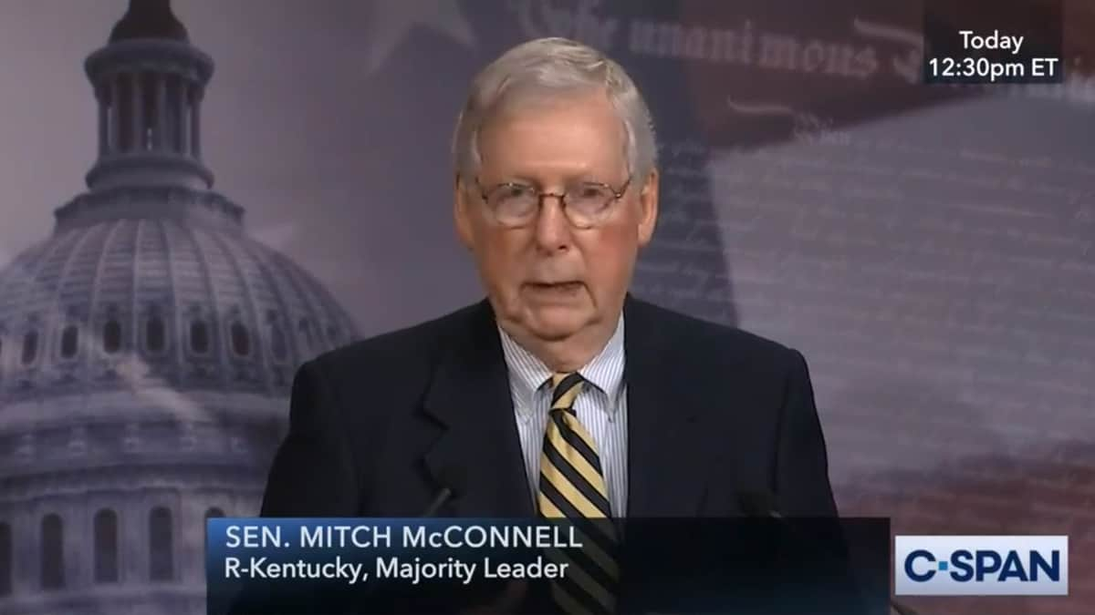 Senate Majority Leader Mitch McConnell at press conference.