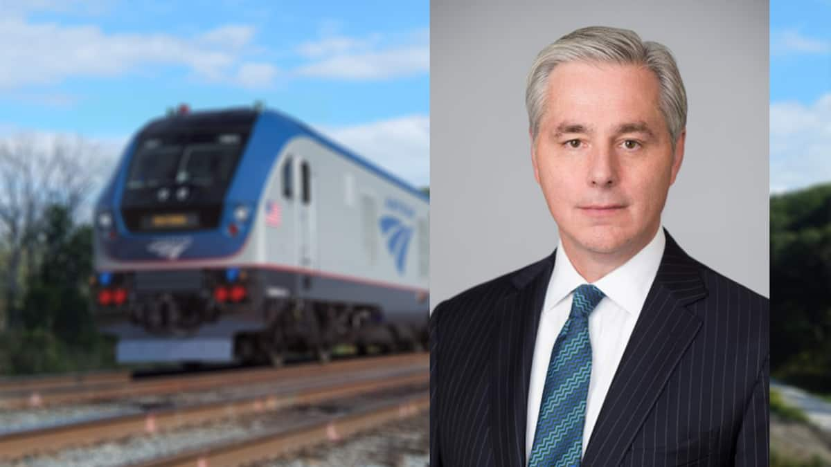 A photograph of two images. To the left is a train, and to the right is a man.
