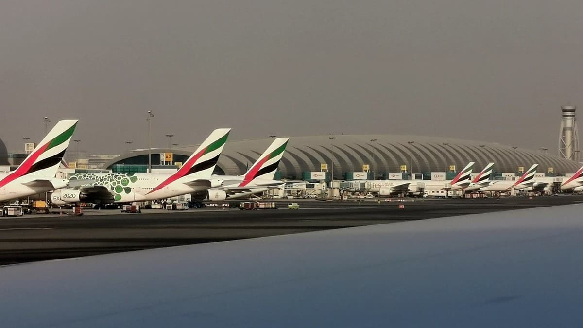 Planes lined up at terminal in Dubia.