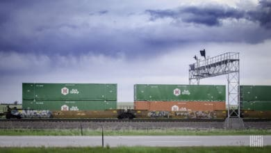 double stacked containers on intermodal well car