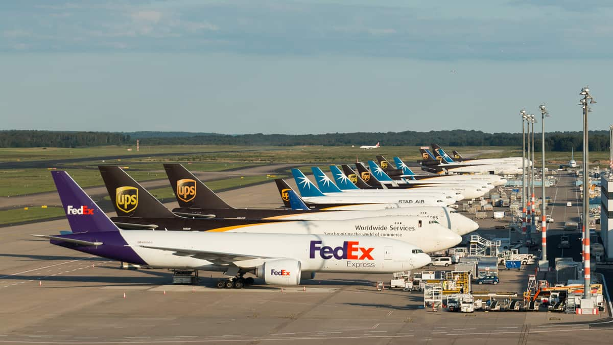 Big freighter planes lined up side by side