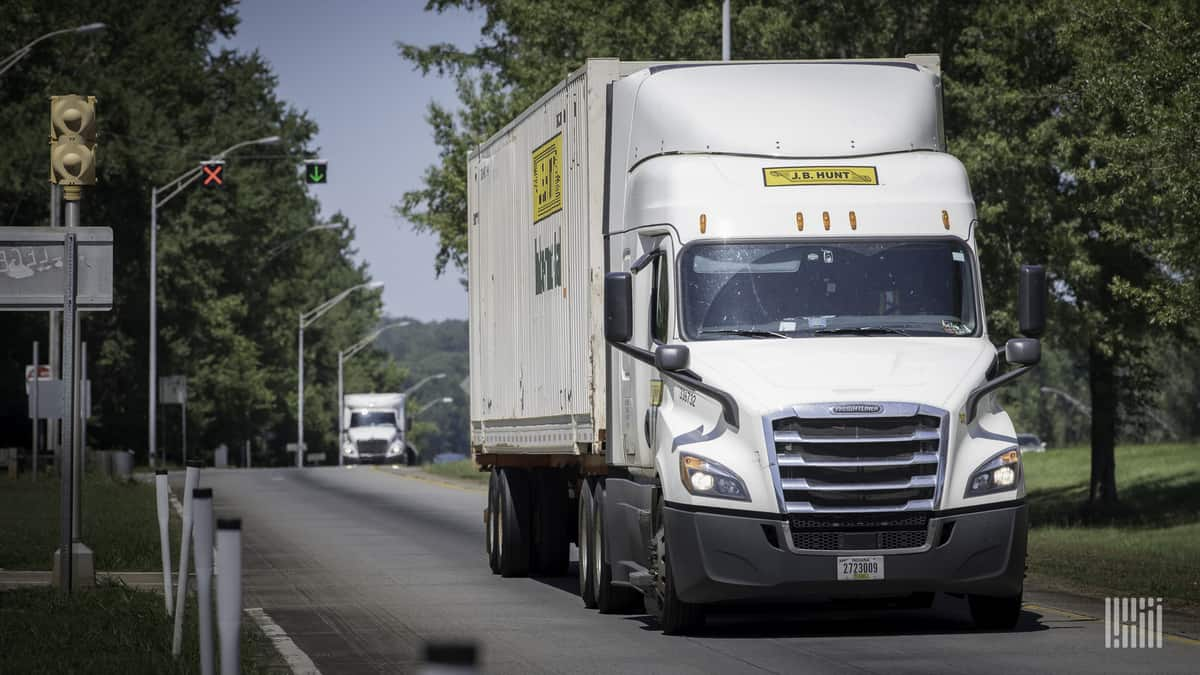 J.B. Hunt Intermodal rig on road