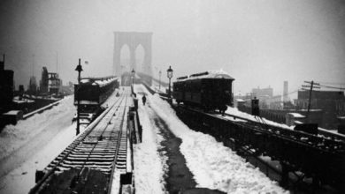 Brooklyn Bridge in New York City right after the Great Blizzard of 1888.