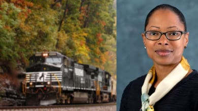 A composite image. On the left is a photograph of a locomotive. On the right is a photograph of a woman.