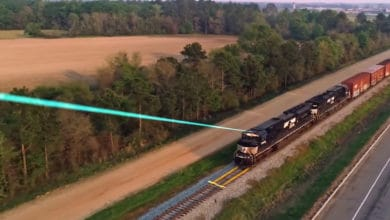 An image of a locomotive hauling railcars through a field. The locomotive has a laser beam coming out of its top. The laser beam is pointing outward and to the left.