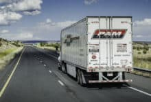 P.A.M. Transportation truck on highway