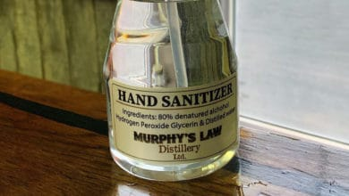 A spray bottle of hand sanitizer produce by Murphy's Law distillery in Ontario, Canada