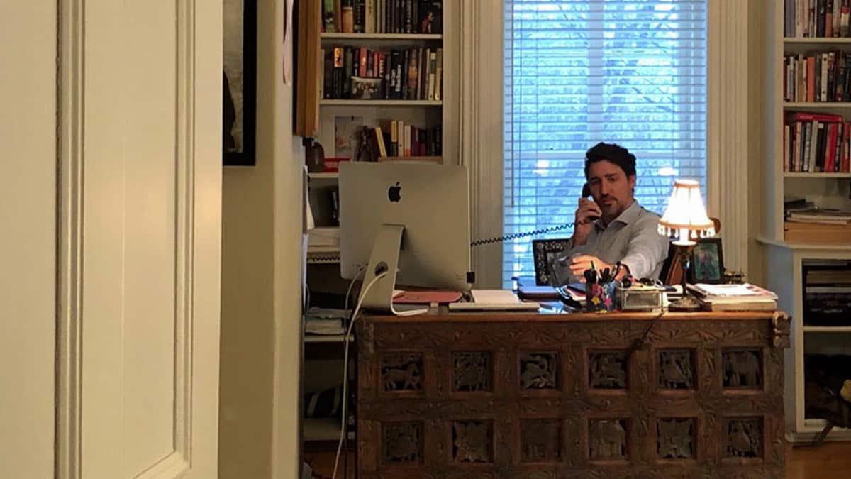 Canadian Prime Minister Justin Trudeau working from home