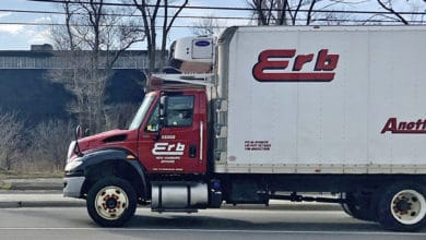 A straight truck of Canadian carrier Erb in Toronto, Canada on Thursday.