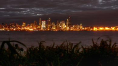 Puget Sound and Seattle at night.