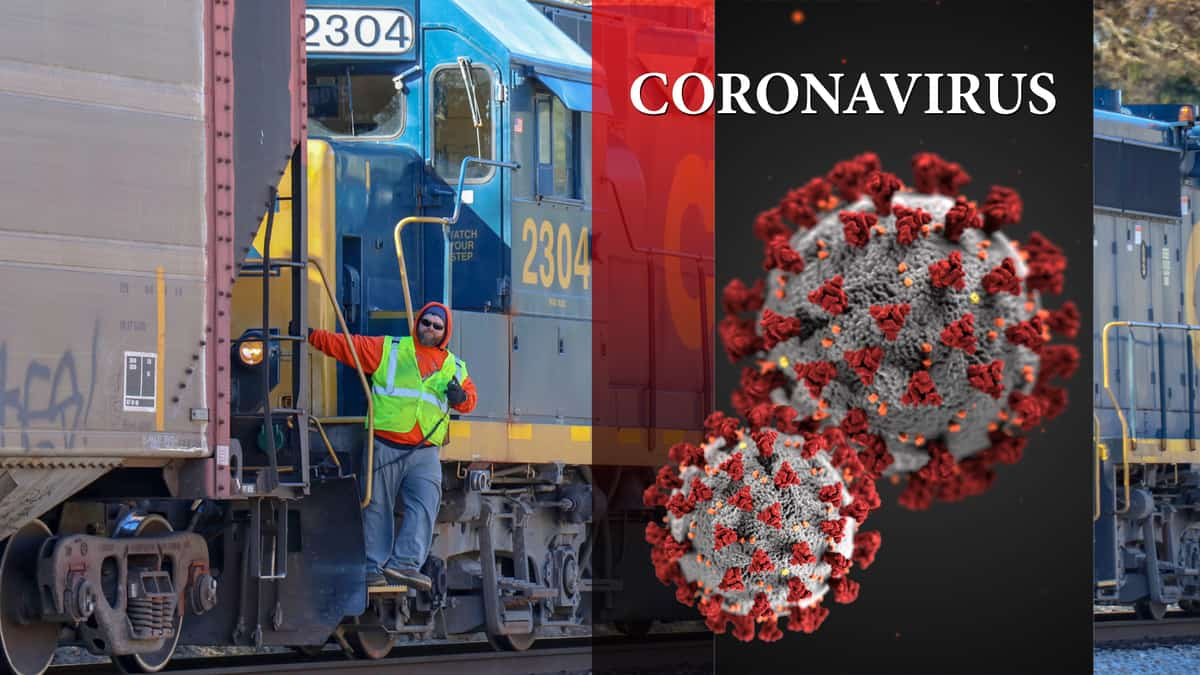 A composite image. On the left is a photograph of a rail employee standing next to a freight train. On the right is the word coronavirus with an image of the virus underneath the word.
