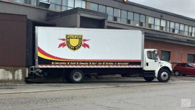 A truck at a loading dock in Toronto, Canada.