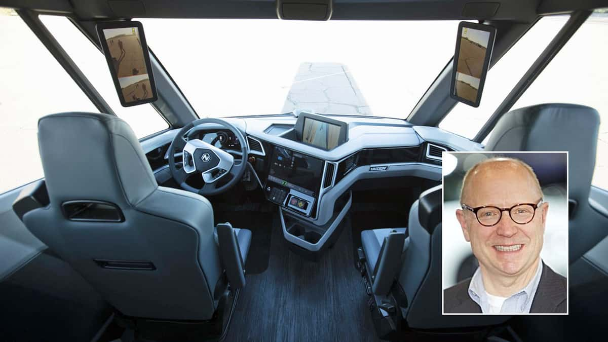 Steve Girsky of VectoIQ over Nikola truck interior
