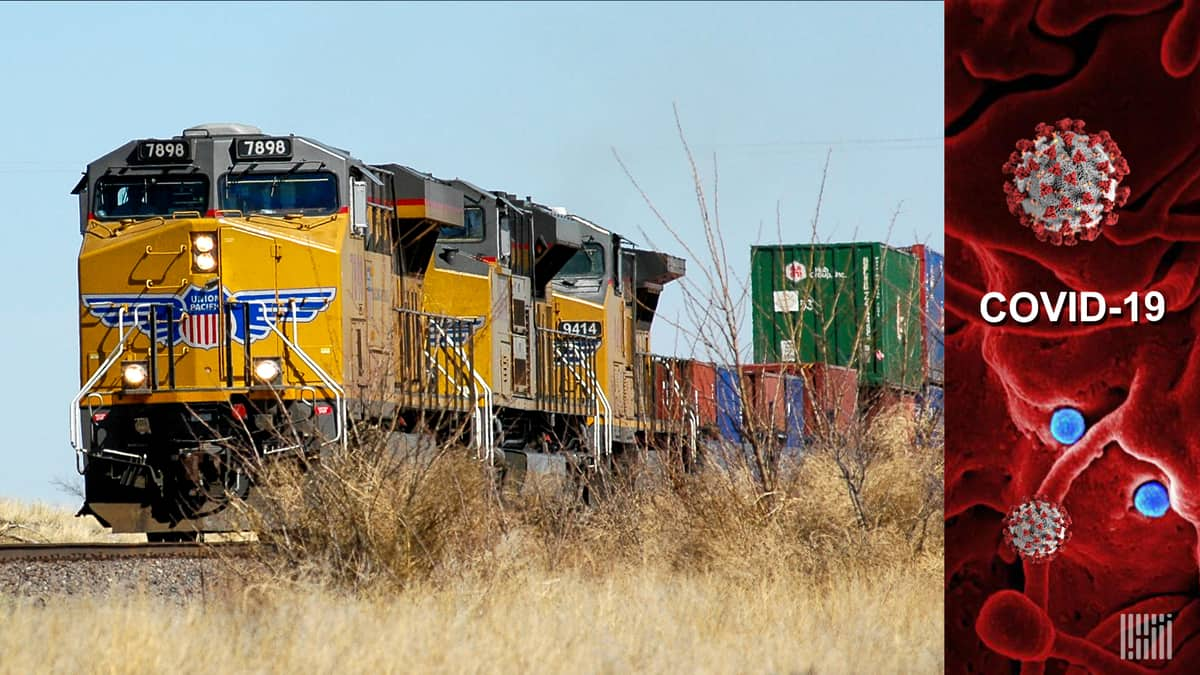 Union Pacific freight train/COVID-19 image.