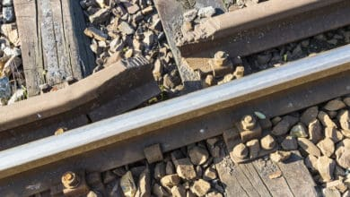 A photograph of damaged rail track
