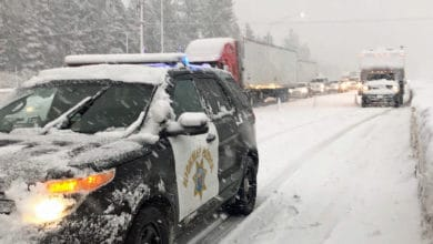 Tractor-trailers and cars stuck on snowy California highway.