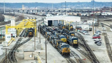 A photograph of locomotives at a rail yard.
