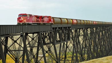 A photograph of a train crossing a bridge.