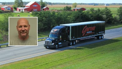 Garner Trucking tractor-trailer; inset photo of driver Eric Eaton.