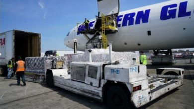 Cargo loaded onto a big white cargo plane.
