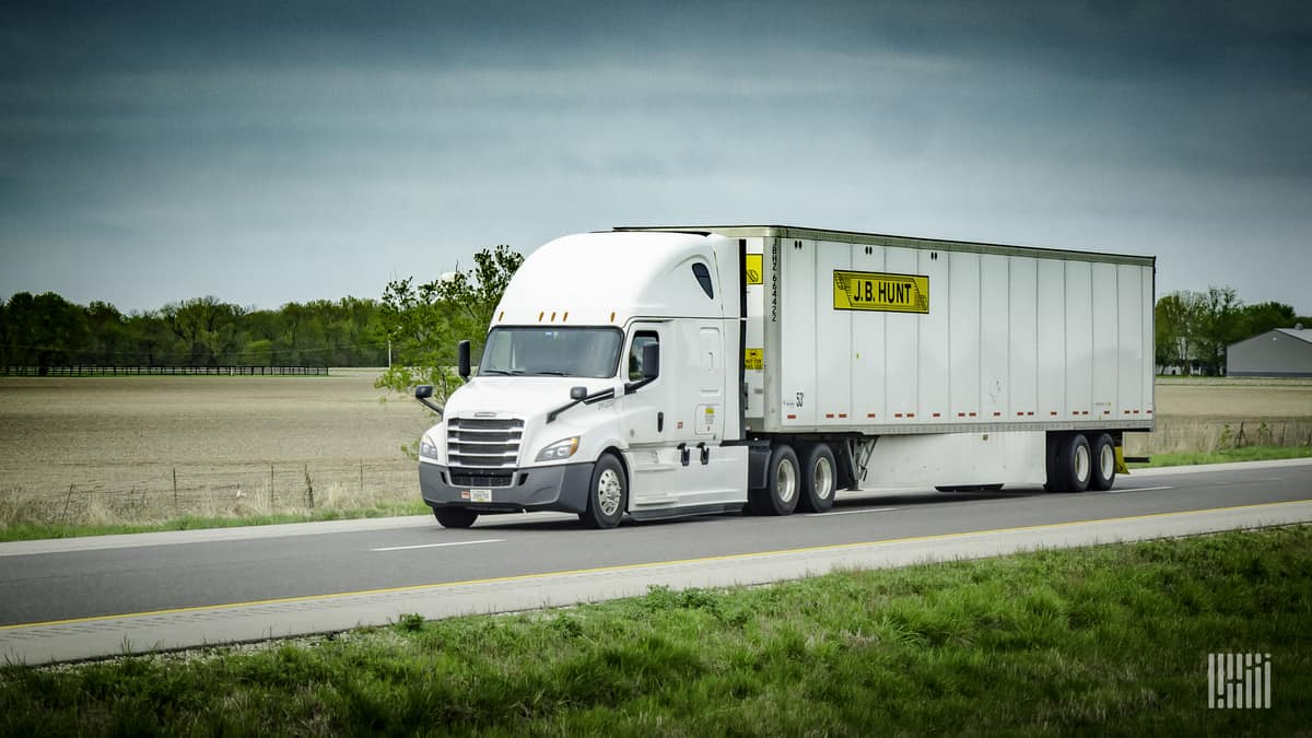 J.B. Hunt truck on highway