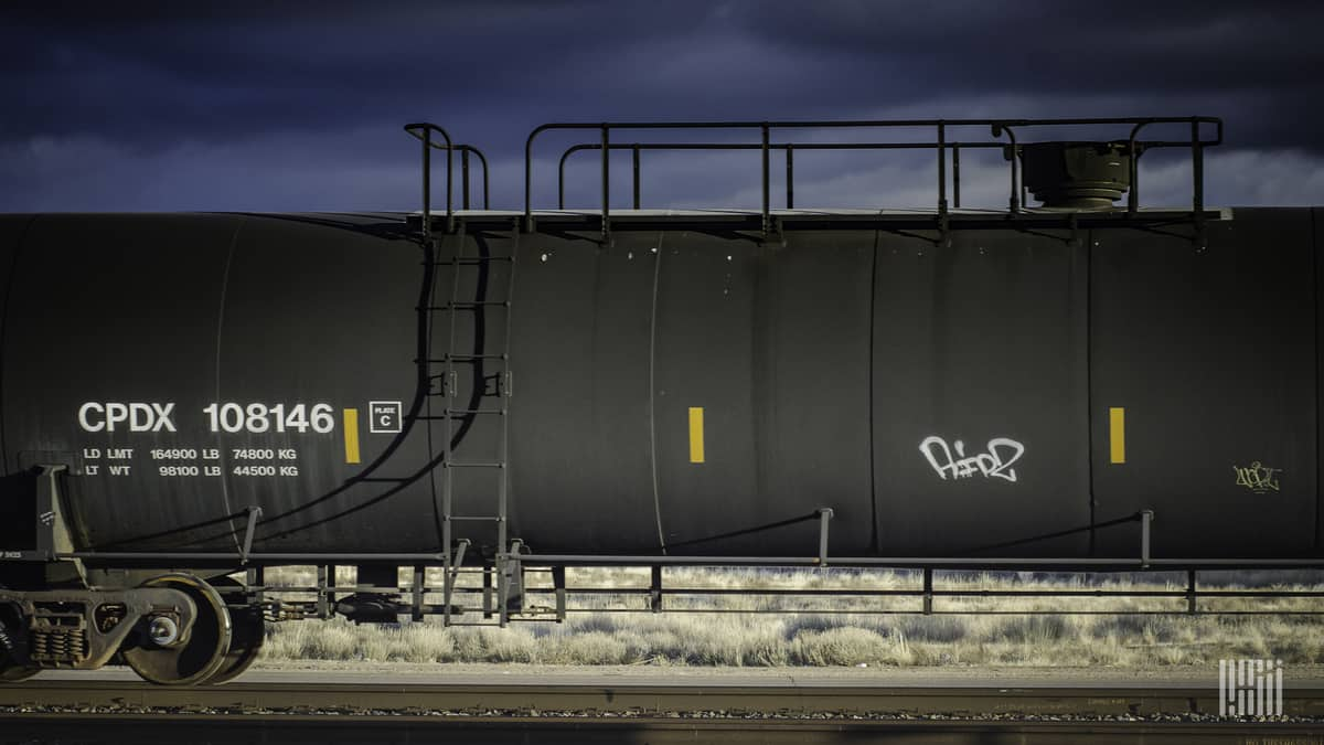 Railroad tank car.