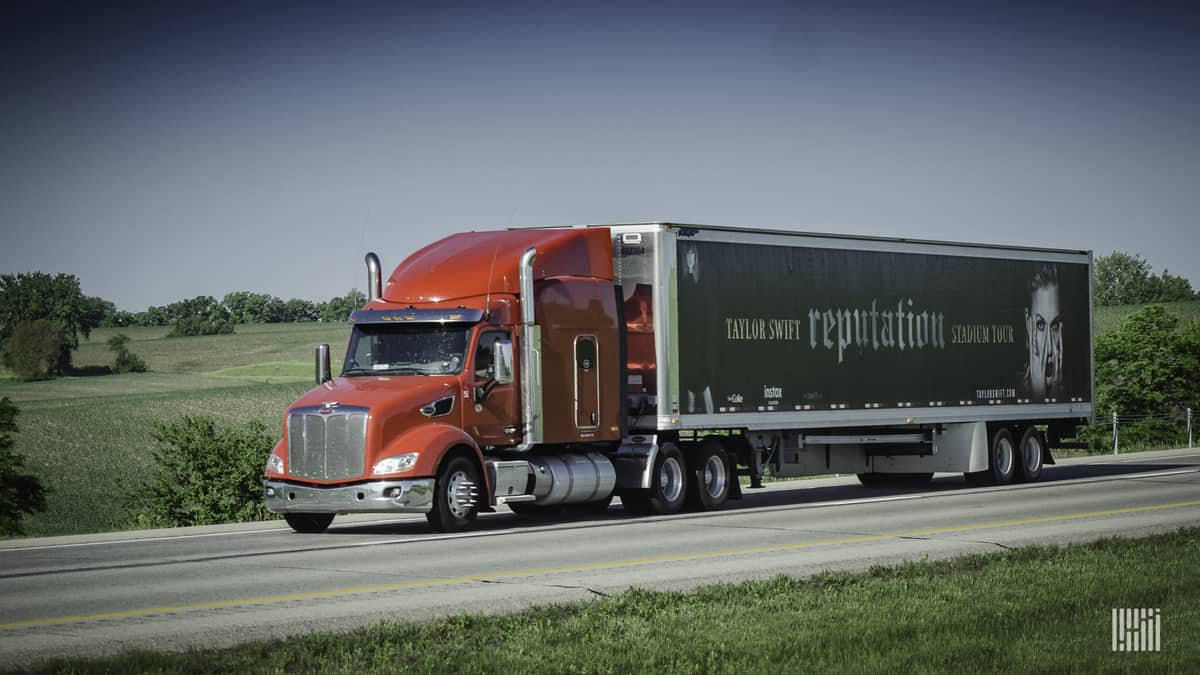 Photo of 18-wheeler truck. On the trailer is a photo of Taylor Swift and the caption