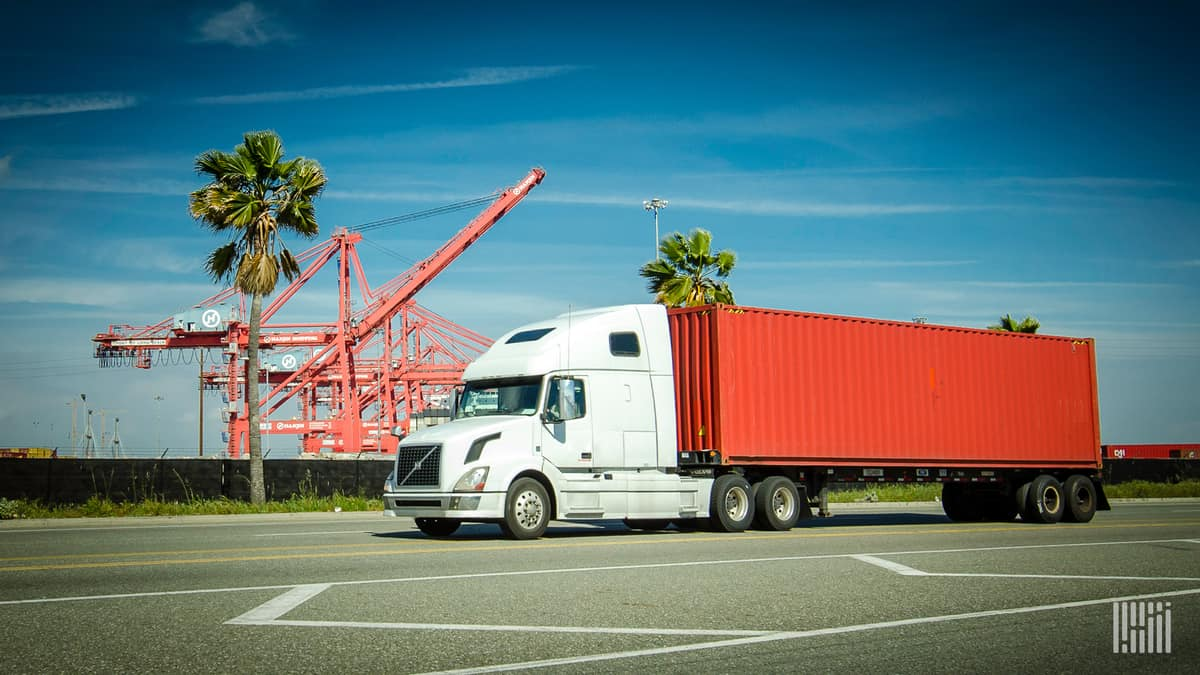 truck with container at port