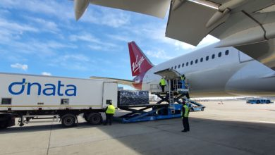 Cargo loaded from truck onto plane.