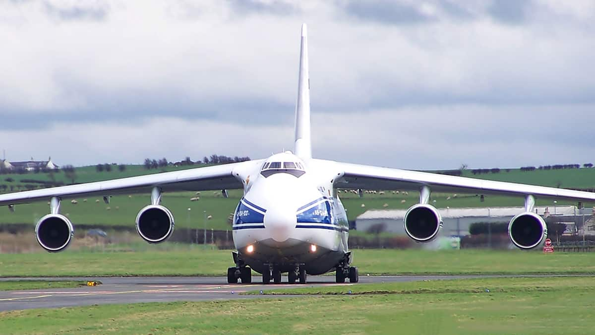The AN-124 is the largest civil cargo plane in the world.