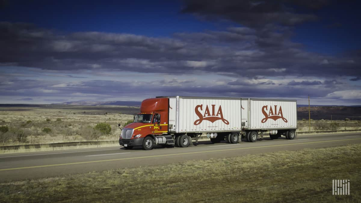 Saia double on the highway