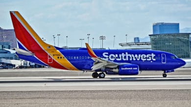 A colorful Southwest Airlines plane on the tarmac.