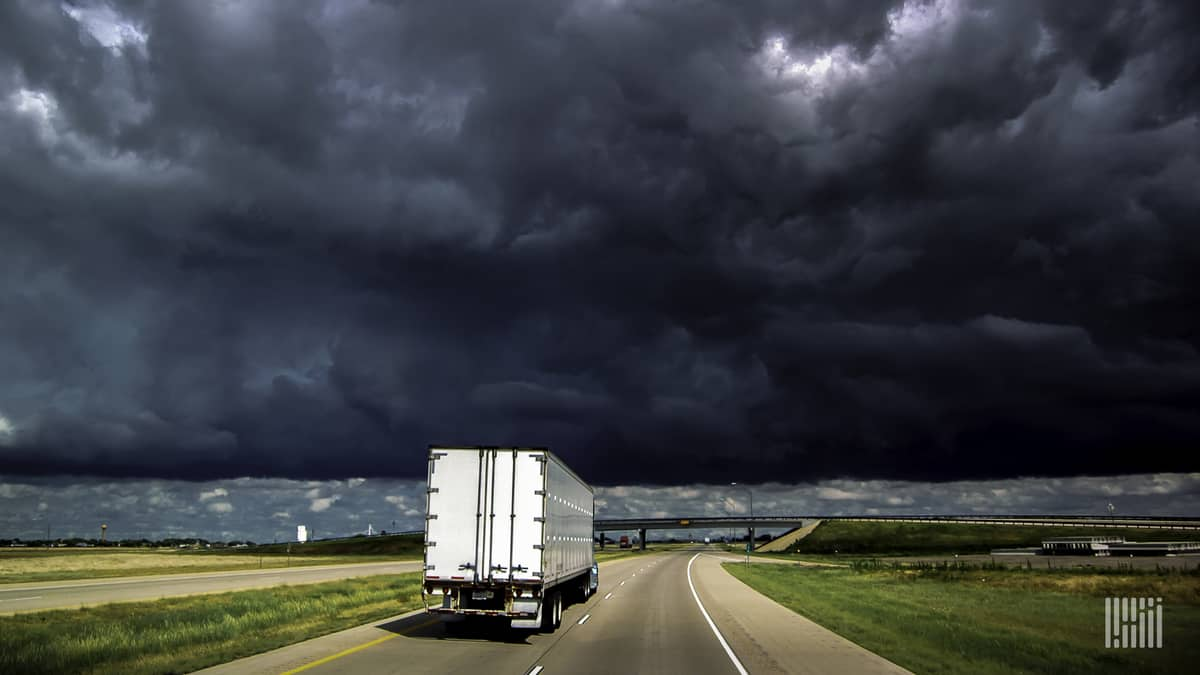 truck heading into storm