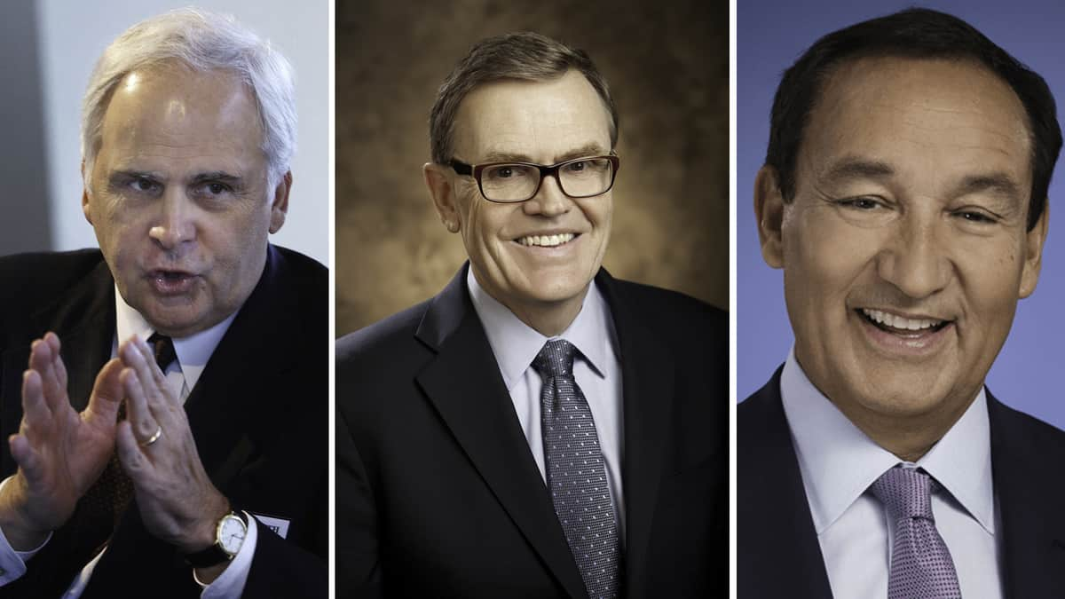 Head shots of FedEx, UPS and United Airlines CEOs.