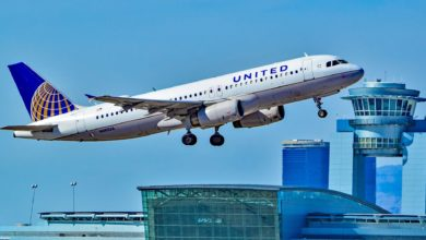 A white United plane takes off from Las Vegas.