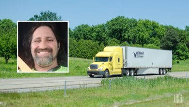 Photo of Veriha Trucking tractor-trailer with inset photo of driver Frank Martin.