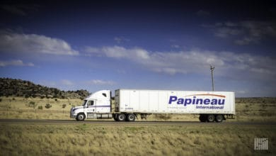 A tractor-trailer of Papineau International