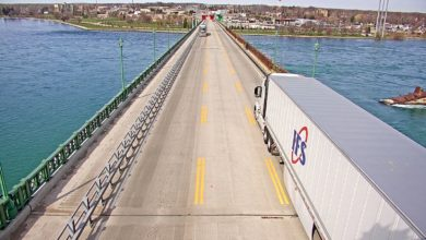 A live webcam on the Peace Bridge shows a truck preparing to cross from the U.S. to Canada.