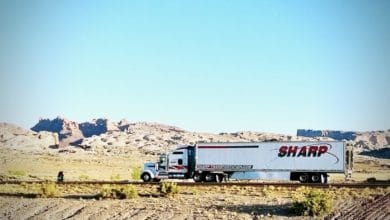 A tractor-trailer of Sharp Transportation Systems