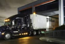A tractor-trailer of Canadian trucking company Titanium Transportation Group delivering a truckload of N95 masks