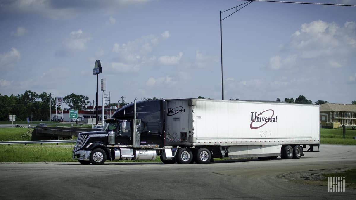 A tractor-trailer of Universal Logistics Holdings