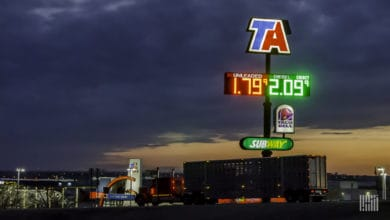 TA travel center at night