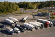 Aerial of Traton Group trucks